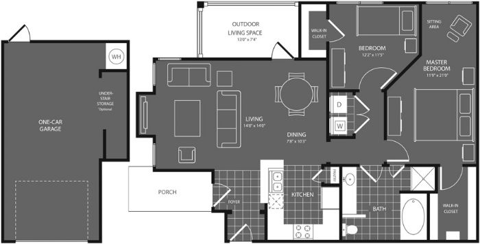1,098 sq. ft. Cedar floor plan