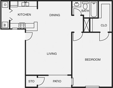 689 sq. ft. floor plan