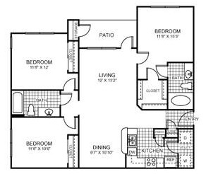 1,175 sq. ft. Texan floor plan