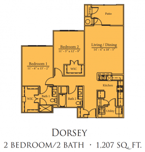1,207 sq. ft. Dorsey/60% floor plan