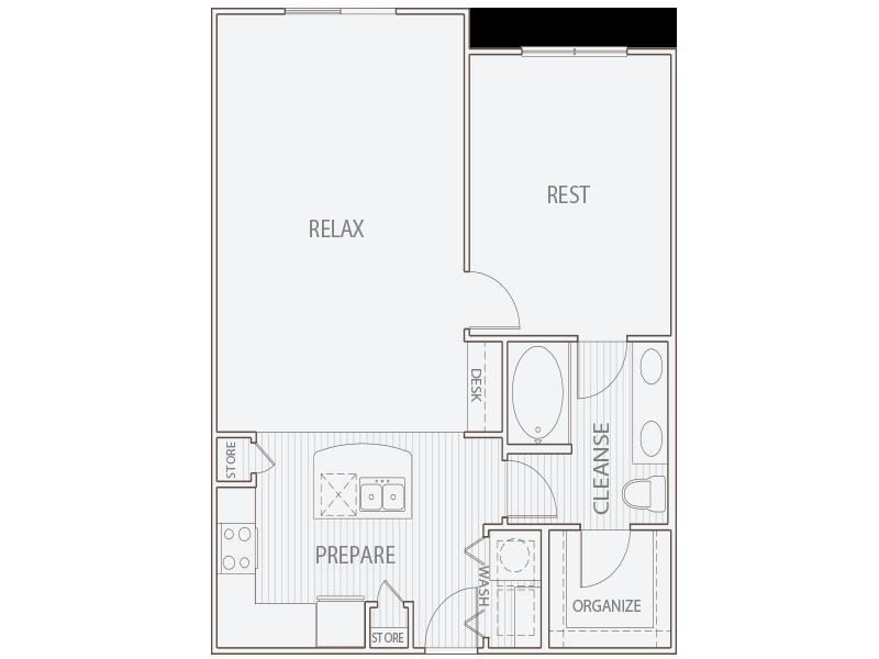 824 sq. ft. A3 floor plan