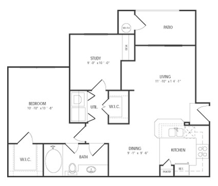 850 sq. ft. VINTAGE floor plan