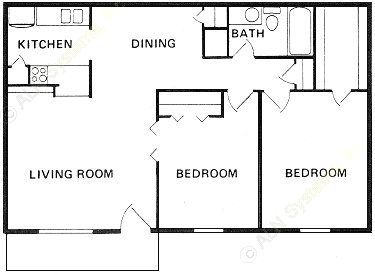 902 sq. ft. B-1 floor plan