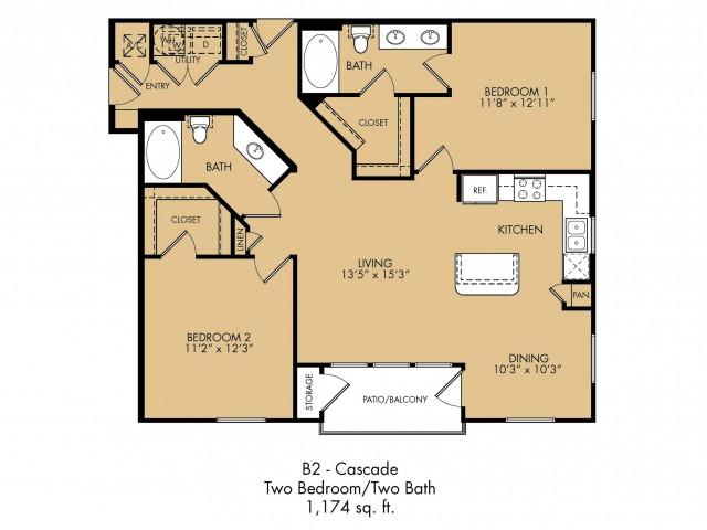 1,174 sq. ft. Cascade floor plan