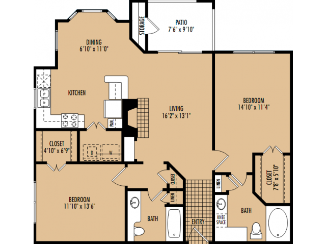 1,135 sq. ft. B3 floor plan