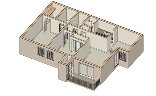 923 sq. ft. B-2 floor plan