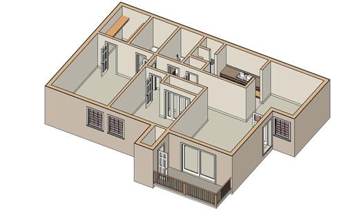 923 sq. ft. B-2 floor plan