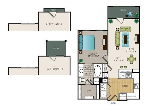 700 sq. ft. A1M floor plan