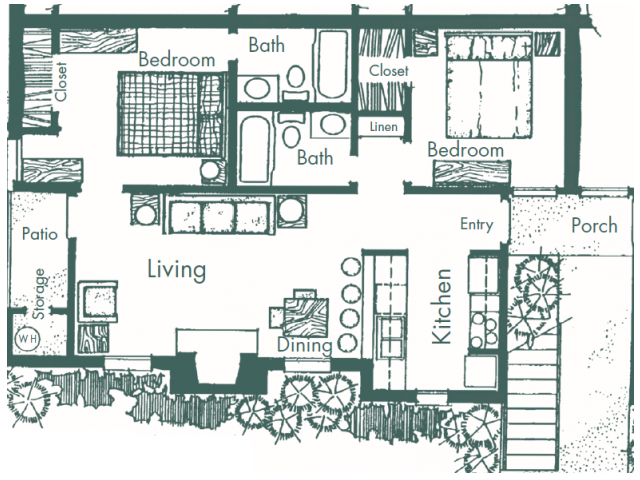 750 sq. ft. E floor plan