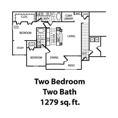 1,279 sq. ft. B6 floor plan