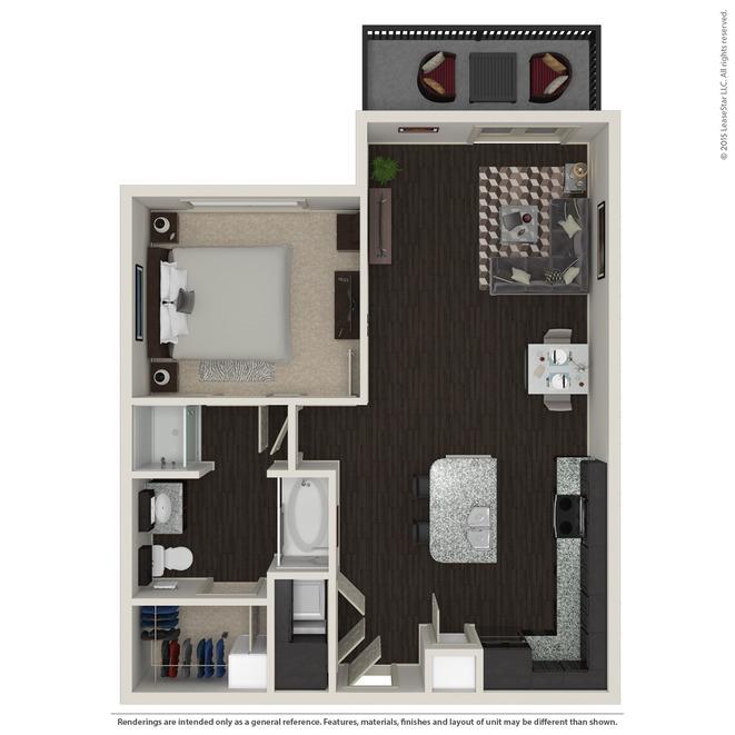 758 sq. ft. A2 floor plan