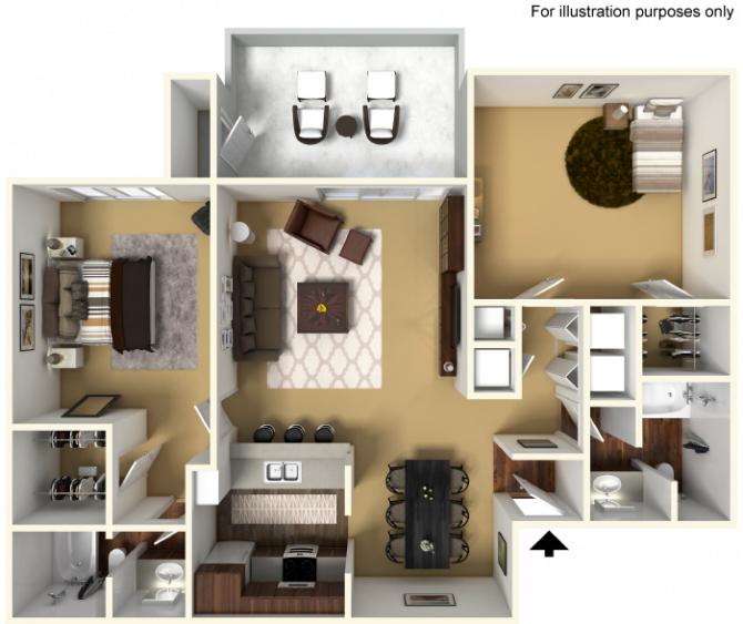 1,039 sq. ft. 60% floor plan