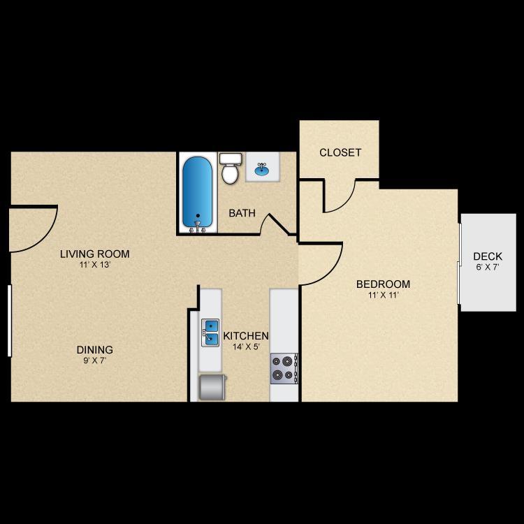 641 sq. ft. A2 floor plan