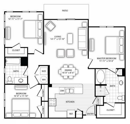 1,352 sq. ft. C1 floor plan