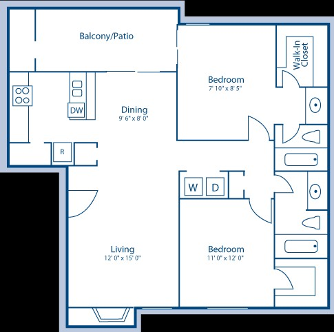 967 sq. ft. E floor plan