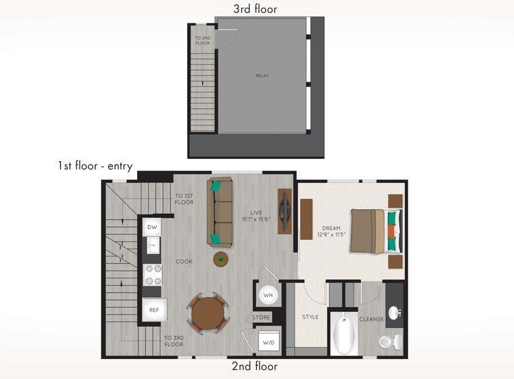 733 sq. ft. G1 floor plan