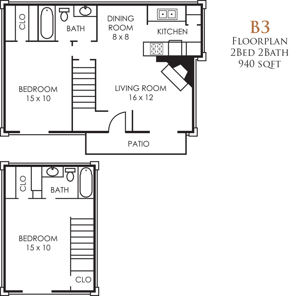 940 sq. ft. B3TH floor plan