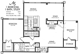 935 sq. ft. A5 floor plan
