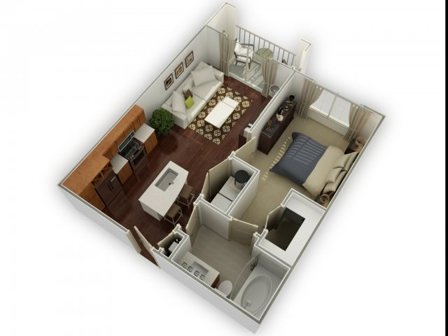 624 sq. ft. A1 alt 1 floor plan