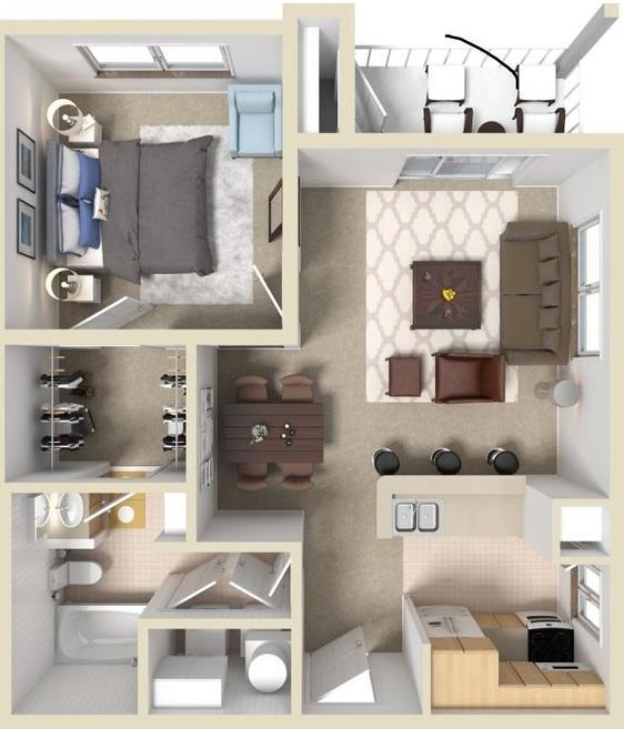 621 sq. ft. A1 floor plan