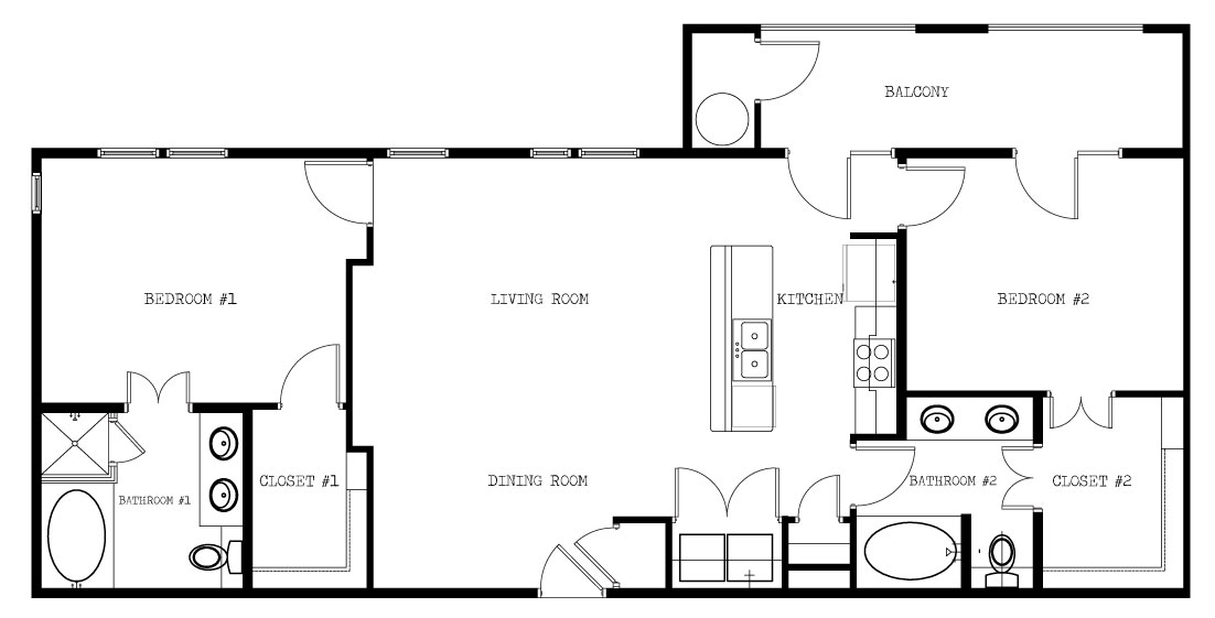 1,088 sq. ft. C/1292 floor plan