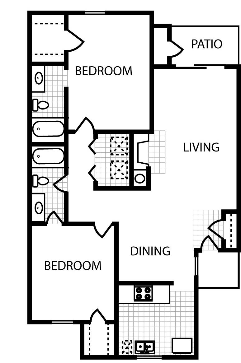 1,096 sq. ft. B4 floor plan