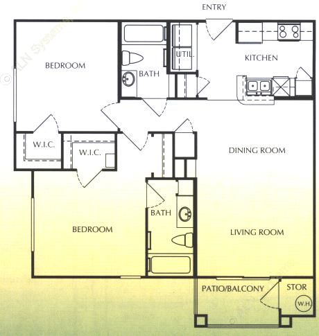 1,034 sq. ft. C/60% floor plan