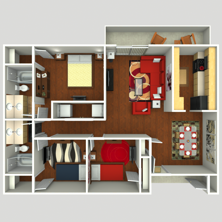 1,200 sq. ft. C2 floor plan