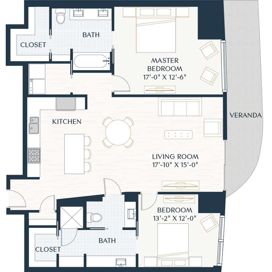 1,428 sq. ft. B3.1 floor plan