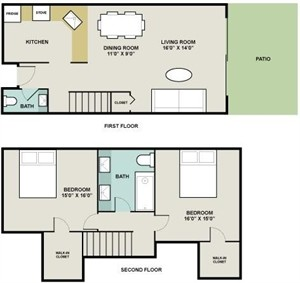 1,020 sq. ft. Ferdinand floor plan
