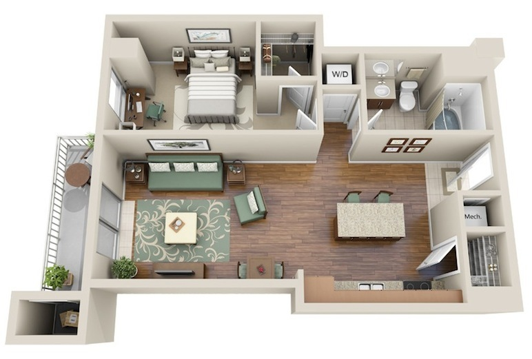 737 sq. ft. A3 floor plan