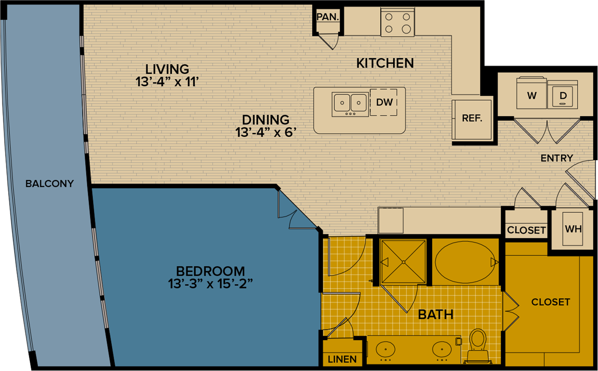 1,021 sq. ft. A14 floor plan
