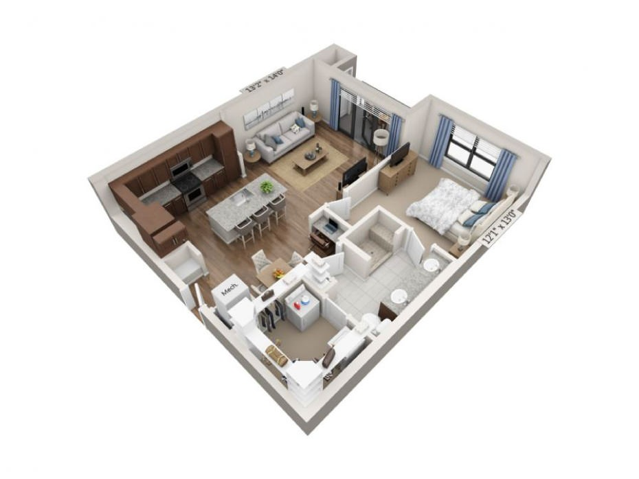 860 sq. ft. Cantata floor plan