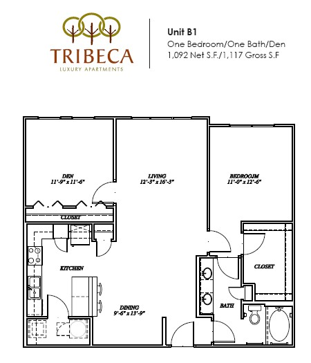 1,092 sq. ft. Franklin floor plan