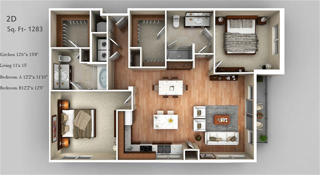1,283 sq. ft. 2D floor plan