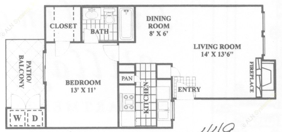 580 sq. ft. Diplomat floor plan