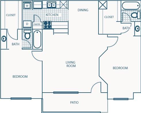 1,028 sq. ft. F floor plan