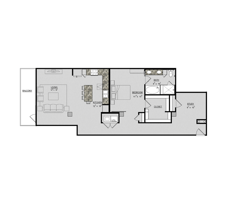 1,265 sq. ft. Tulip floor plan