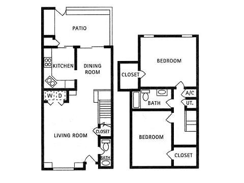 1,093 sq. ft. BA4 floor plan