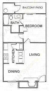 622 sq. ft. A2 floor plan