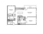 1,053 sq. ft. B2D floor plan
