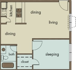 558 sq. ft. A5 floor plan