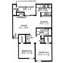 882 sq. ft. E floor plan