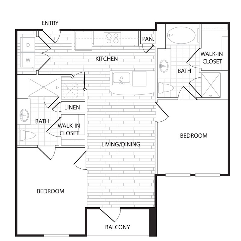 821 sq. ft. to 864 sq. ft. B2 floor plan
