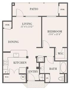 779 sq. ft. Jefferson floor plan