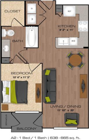 638 sq. ft. to 666 sq. ft. A2 floor plan