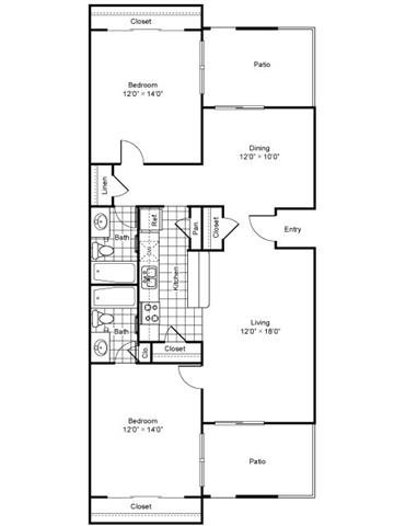 1,092 sq. ft. floor plan