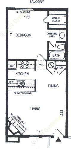 657 sq. ft. Rothchild floor plan