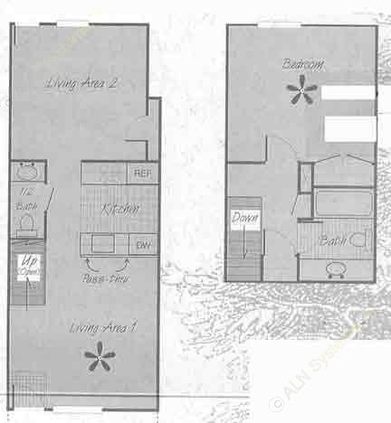 860 sq. ft. A1 floor plan