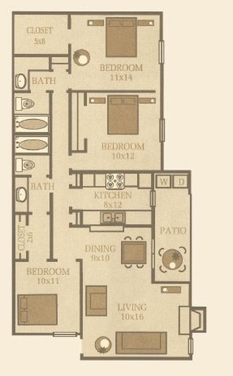 1,200 sq. ft. Spruce floor plan